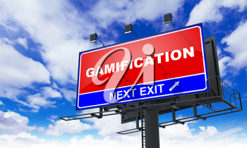 Gamification - Red Billboard on Sky Background. Business Concept.