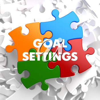 Goal Settings on Multicolor Puzzle on White Background.