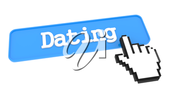 Dating Button with Hand Cursor. Business Concept.