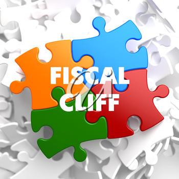 Fiscal Cliff on Multicolor Puzzle on White Background.