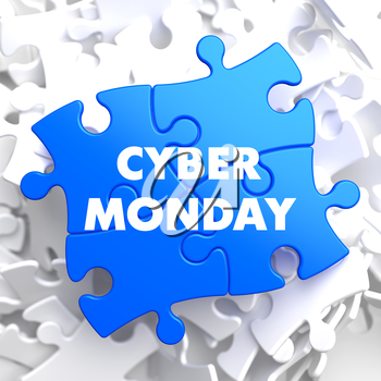Cyber Monday on Blue Puzzle on White Background.