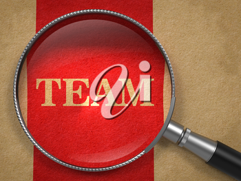 Team through Magnifying Glass on Old Paper with Red Vertical Line.
