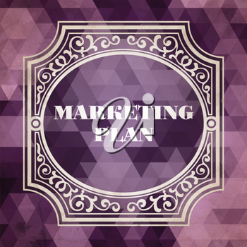 Marketing Plan Concept. Vintage design. Purple Background made of Triangles.