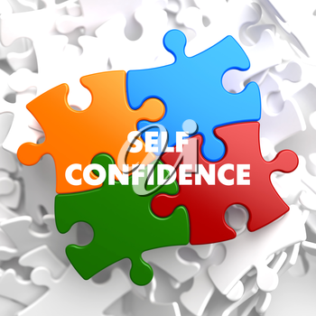 Self Confidence on Multicolor Puzzle on White Background.