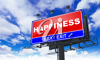 Happiness - Red Billboard on Sky Background. Business Concept.