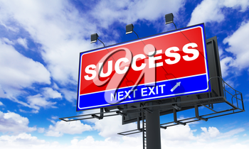 Success - Red Billboard on Sky Background. Business Concept.