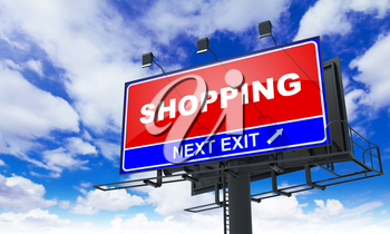 Shopping - Red Billboard on Sky Background. Business Concept.