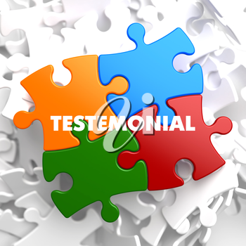 Testimonial on Multicolor Puzzle on White Background.