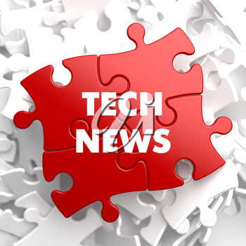 Tech News on Red Puzzle on White Background.