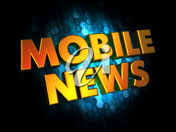 Mobil News - Gold 3D Words on Dark Digital Background.