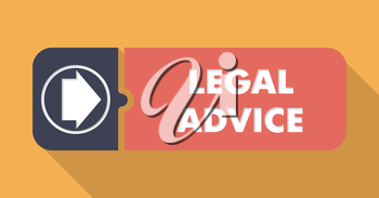 Legal Advice Button in Flat Design with Long Shadows on Orange Background.