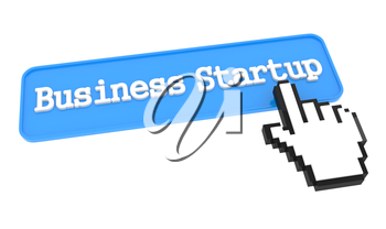Business Startup Button with Hand Cursor. Business Concept.
