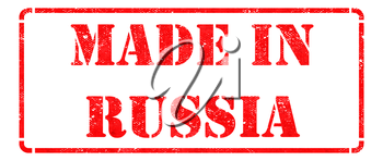 Made in Russia - Inscription on Red Rubber Stamp Isolated on White.