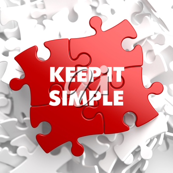 Keep it Simple on Red Puzzle on White Background.