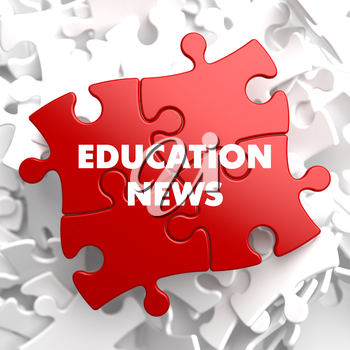 Education News on Red Puzzle on White Background.