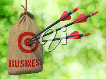 Business - Three Arrows Hit in Red Target on a Hanging Sack on Green Bokeh Background.