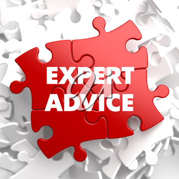 Expert Advice on Red Puzzle on White Background.