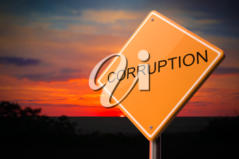 Corruption - Inscription on  Warning Road Sign on Sunset Sky Background.