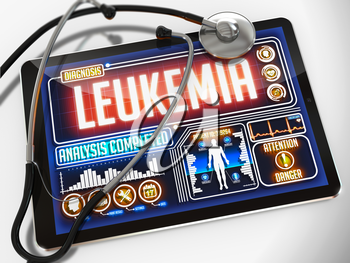 Medical Tablet with the Diagnosis of Leukemia on the Display and a Black Stethoscope on White Background.