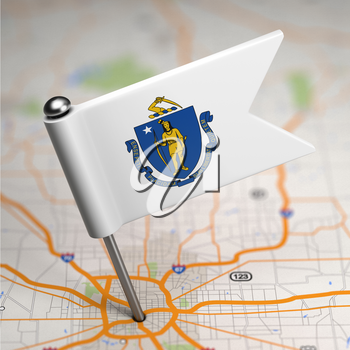 Small Flag of Massachusetts on a Map Background with Selective Focus.
