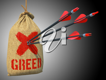 Greed - Three Arrows Hit in Red Target on a Hanging Sack on Green Bokeh Background.