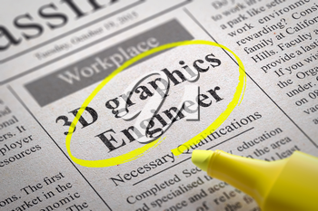 3D Graphics Engineer Vacancy in Newspaper. Job Search Concept.