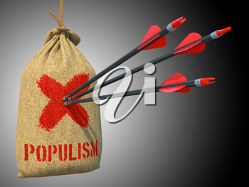 Populism - Three Arrows Hit in Red Target on a Hanging Sack on Green Bokeh Background.