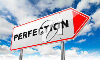 Perfection - Inscription on Red Road Sign on Sky Background.