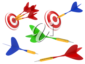 Colorful Darts Hit in Target Isolated on White Background.