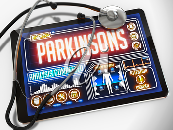 Medical Tablet with the Diagnosis of Parkinsons on the Display and a Black Stethoscope on White Background.