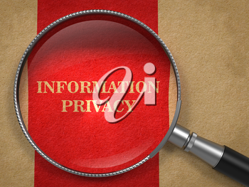 Information Privacy through Magnifying Glass on Old Paper with Red Vertical Line.