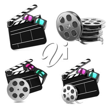 Movie Concepts. Set of Clapboard with Anaglyph Glasses and Film Reel on white background.