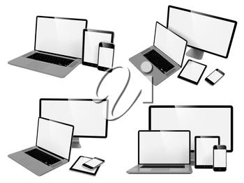 Computer, Laptop, Tablet and Phone. Set of Computer Devices.