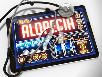 Medical Tablet with the Diagnosis of Alopecia on the Display and a Black Stethoscope on White Background.