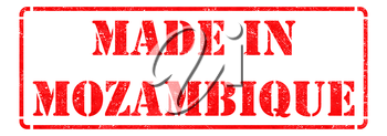 Made in Mozambique - Inscription on Red Rubber Stamp Isolated on White.