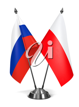 Russia and Poland - Miniature Flags Isolated on White Background.