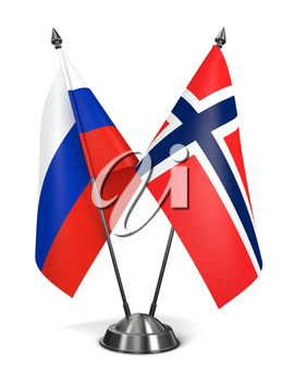 Russia and Norway - Miniature Flags Isolated on White Background.