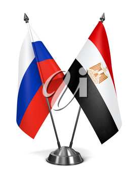 Russia and Egypt - Miniature Flags Isolated on White Background.