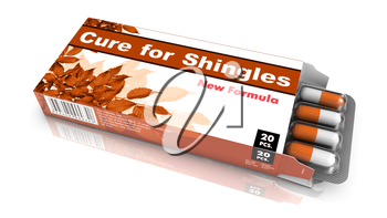 Cure for Shingles, Pills Blister getting out from Brown Box over White Background.