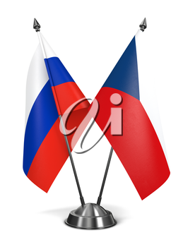 Russia and Czech Republic - Miniature Flags Isolated on White Background.