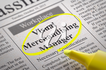 Visual Merchandising Manager - Vacancy in Newspaper. Job Seeking Concept.