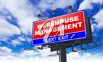 Warehouse Management Inscription on Red Billboard on Sky Background.