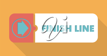Finish Line Button in Flat Design with Long Shadows on Blue Background.