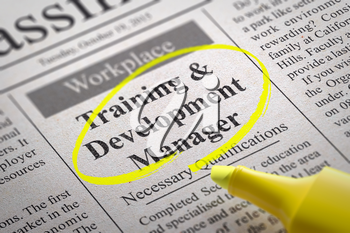 Training and Development Manager Vacancy in Newspaper. Job Seeking Concept.