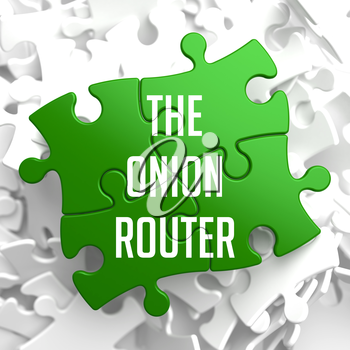 The Onion Router - Green Puzzle on White Background.