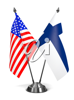 USA and Finland - Miniature Flags Isolated on White Background.