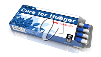 Cure for Hunger - Blue Open Blister Pack Tablets Isolated on White.
