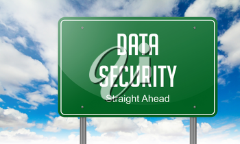 Data Security on Green Highway Signpost on Sky Background.