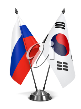 Russia and South Korea - Miniature Flags Isolated on White Background.