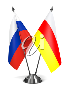 Russia and South Ossetia - Miniature Flags Isolated on White Background.